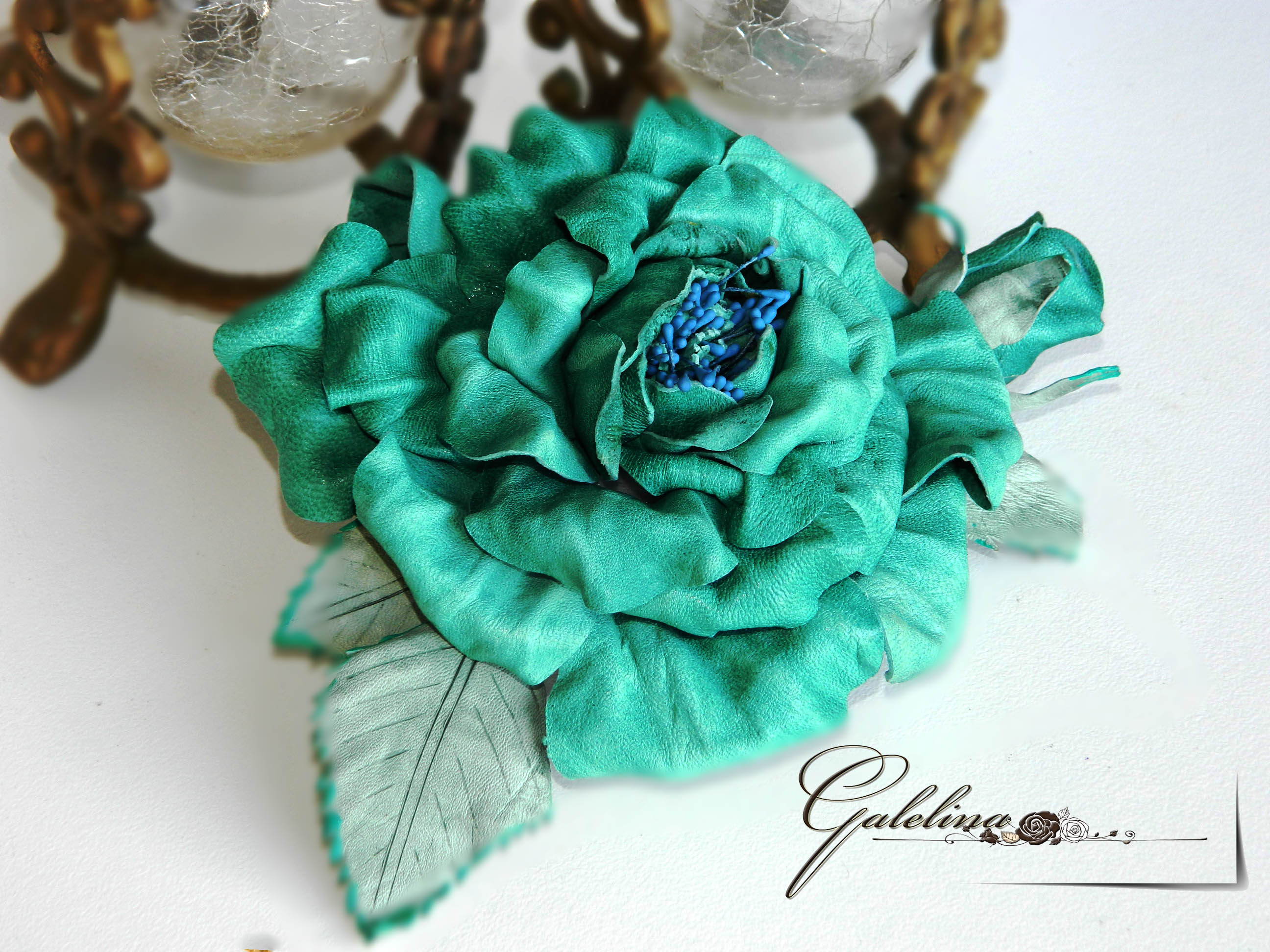 leather rose, pin brooch, hear clip