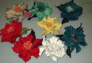Fantasy leather flowers, made without flower making tools