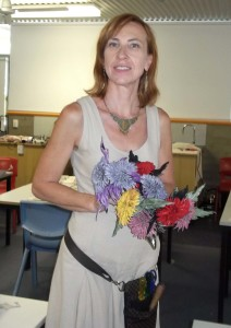 last class at IMF 2014, we made leather chrysanthemums
