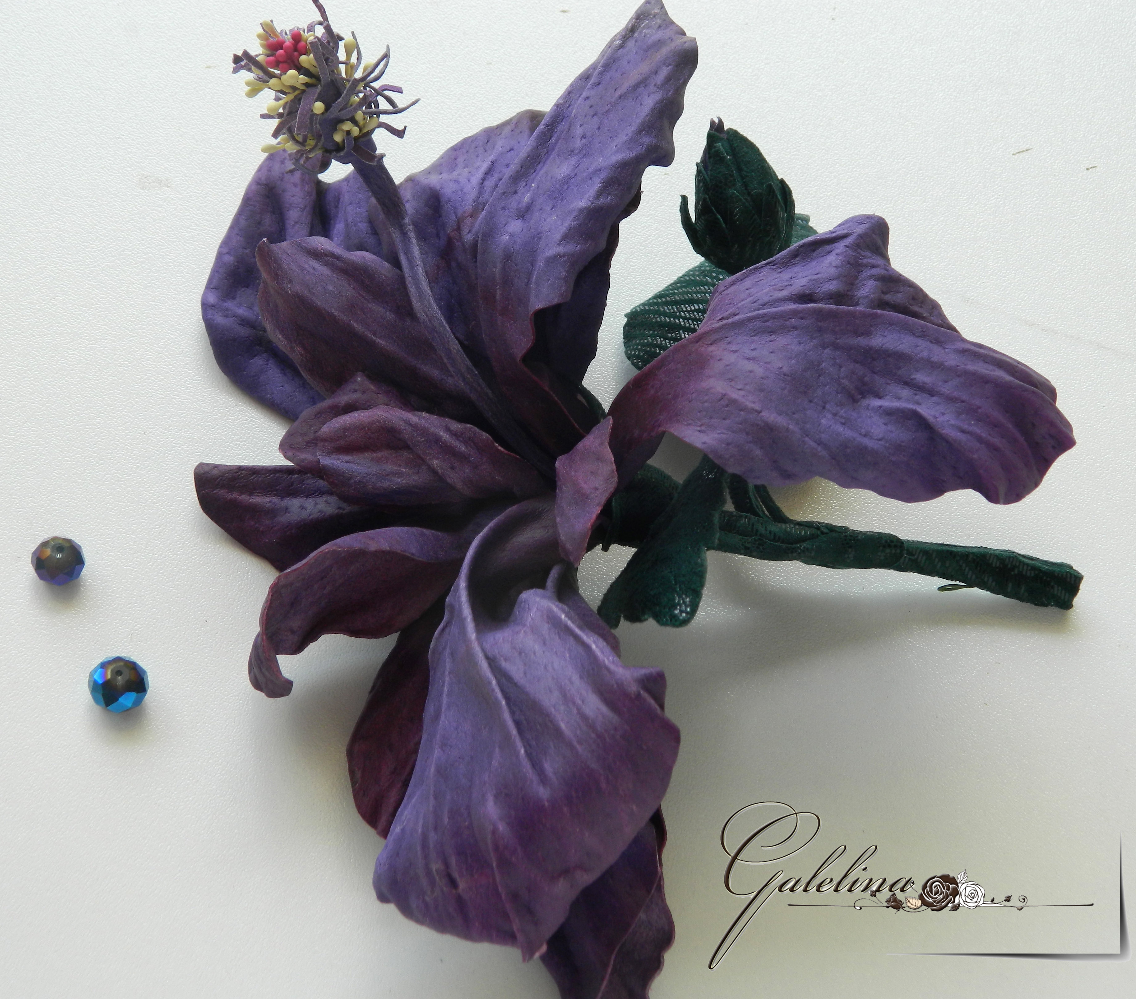 leather hibiscus flower , pin brooch, hear clip